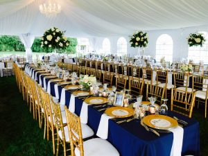 tent wedding with navy